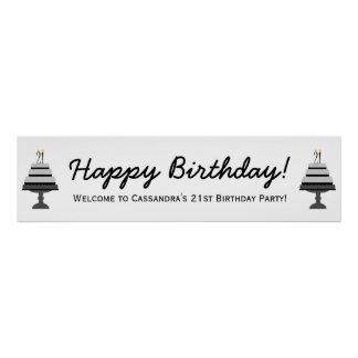 Black Gray Cake 21st Birthday Party Banner Poster