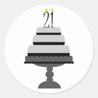 Black & Gray Cake 21st Birthday Stickers