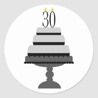 Black & Gray Cake 30th Birthday Stickers