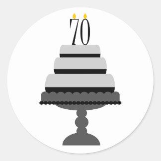 Black & Gray Cake 70th Birthday Stickers