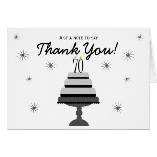Black Gray Cake 70th Birthday Thank You Note Card