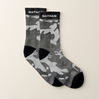 Black Gray Camouflage Personalized Name Socks