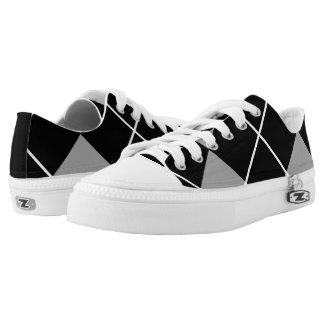 Black & Gray Classic Argyle Printed Shoes