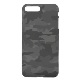 Black & Gray Cool Camo Camouflage Pattern Clearly iPhone 8 Plus/7 Plus Case