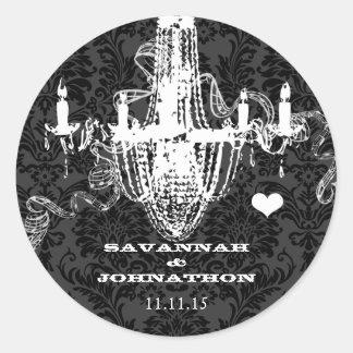 Black & Gray Damask Vintage Chandelier Wedding Classic Round Sticker