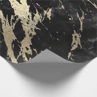 Black Gray Graphite Gold Marble Shiny VIP Wrapping Paper