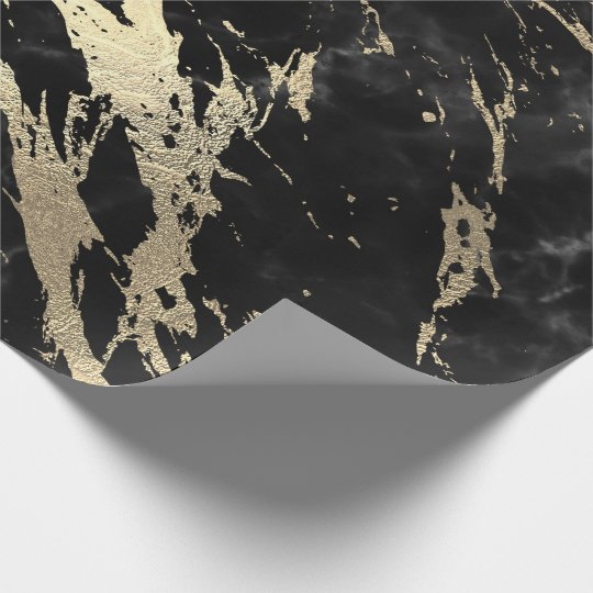 Black Gray Graphite Gold Marble Shiny VIP Wrapping