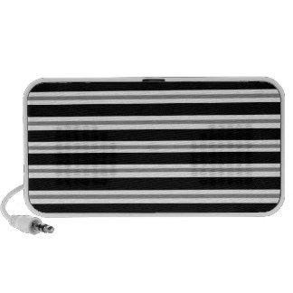 Black Gray Horizontal Stripes Doodle Mp3 Speakers
