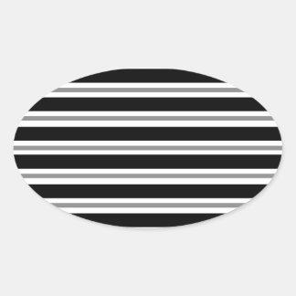 Black Gray Horizontal Stripes Oval Sticker