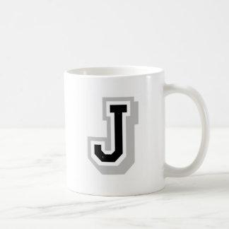 black gray letter J Coffee Mug