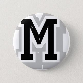 black gray letter M 6 Cm Round Badge