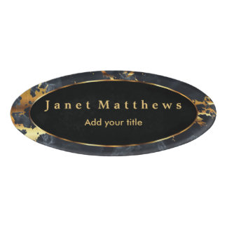 Black & Gray Marble and Gold Texture Design Name Tag