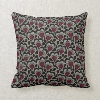Black, Gray, Maroon Hearts Cushion
