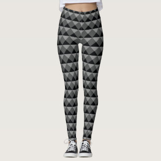Black Gray Modern Diamond Triangle Row Illusion Leggings
