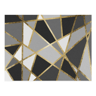 Black & Gray Modern Geo Gold Triangles Postcard