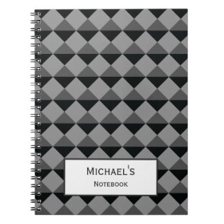 Black Gray Modern Trendy Diamond Triangle Pattern Spiral Notebook