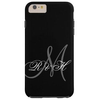 BLACK GRAY MONOGRAM INITIALS TOUGH iPhone 6 PLUS CASE