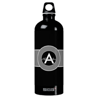 Black Gray Monogram Personalized Water Bottle