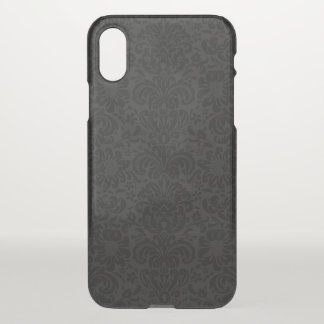 Black & Gray Monotones Floral Damasks Pattern iPhone X Case