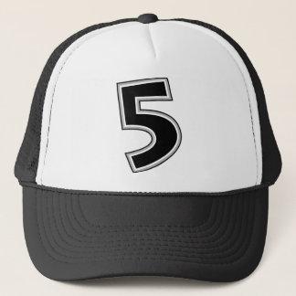 Black & Gray Number 5 Trucker Hat
