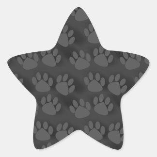 Black Gray Paw Prints Pattern Star Sticker