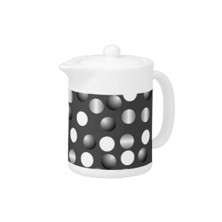 Black Gray Polka Dot Small Teapot