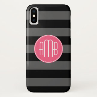 Black & Gray Rugby Stripes with Hot Pink Monogram iPhone X Case