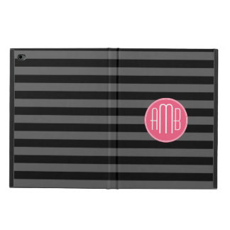 Black & Gray Rugby Stripes with Hot Pink Monogram Powis iPad Air 2 Case