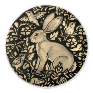 Black Gray Sepia Rabbit Bird Snail Drawer Pull