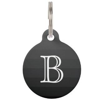 Black Gray Shades Stripes Monogram Initial Simple Pet Tag