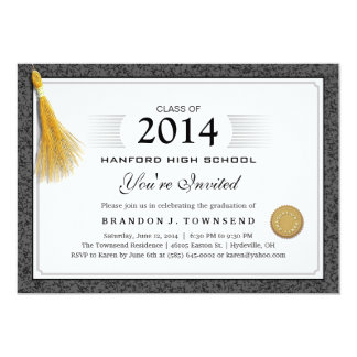 Black & Gray Speckled Diploma Graduate Gold Tassel Invite