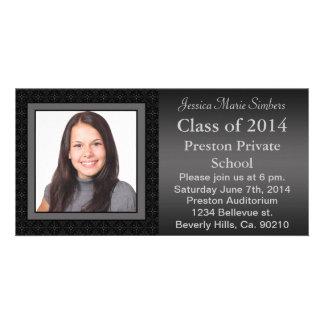 Black & Gray Star Pattern Graduate Photo Personalized Photo Card