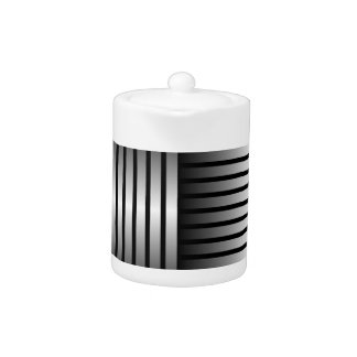 Black Gray Stripe Small Teapot