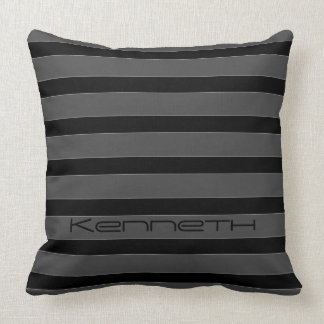 Black Gray Stripe Throw Pillow