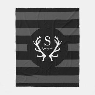 Black Gray Stripes Rustic Deer Antlers Monogram Fleece Blanket