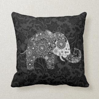 Black & Gray Tones Retro Floral Elephant Throw Pillow
