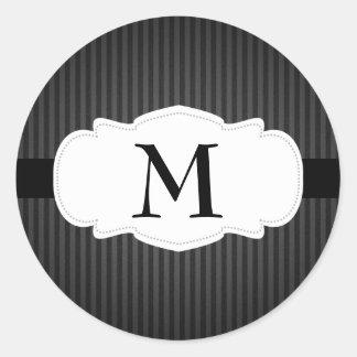 Black & Gray Vertical Stripes Monogram Classic Round Sticker