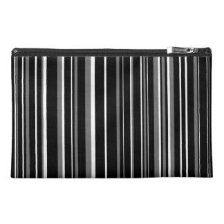 Black, Gray, White Barcode Stripe Travel Accessory Bag