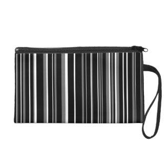 Black, Gray, White Barcode Stripe Wristlet Clutches