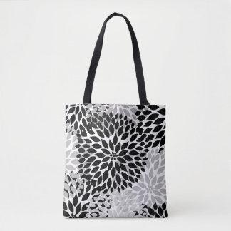 Black Gray White Dahlia Floral Everything Bag