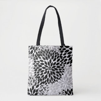 Black Gray White Dahlia Floral Everything Bag Tote Bag