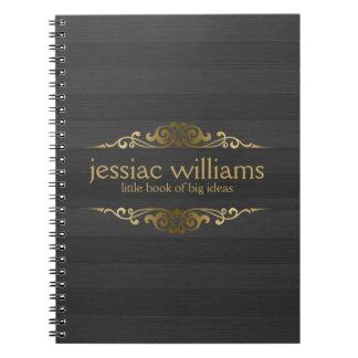 Black & Gray Wood Stripes, Decorative Gold Frame Notebook
