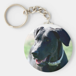Black Great  Dane Basic Round Button Key Ring