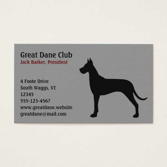Black Great Dane Silhouette Business Card