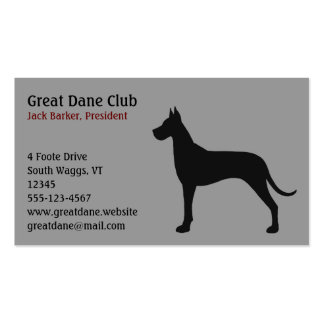 Black Great Dane Silhouette Pack Of Standard Business Cards