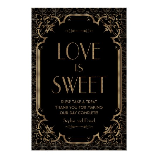 Black Great Gatsby Art Deco Love is Sweet