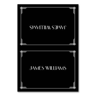 Black Great Gatsby Art Deco Place Setting Cards
