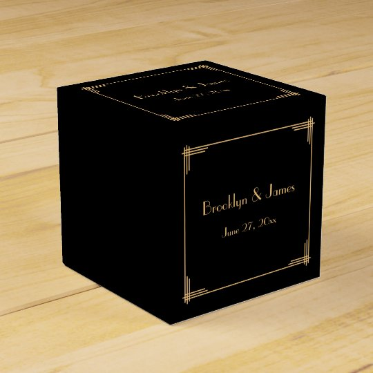 Black Great Gatsby Art Deco Wedding Favour Boxes