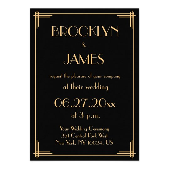 Black Great Gatsby Art Deco Wedding Invitations