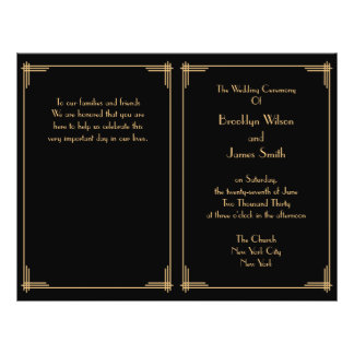 Black Great Gatsby Art Deco Wedding Program 21.5 Cm X 28 Cm Flyer